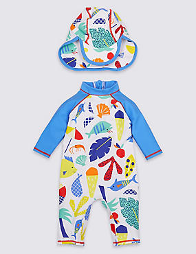 2 Piece All Over Print Swimsuit with Hat, BRIGHT BLUE MIX, catlanding