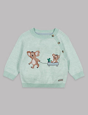 Pure Cotton Koala Print Knitted Jumper, SPEARMINT, catlanding