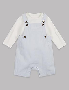 2 Piece Dungarees & Bodysuit Outfit, BLUE/WHITE, catlanding