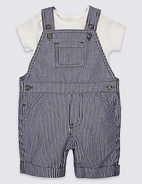 2 Piece Pure Cotton Bib Shorts & Bodysuit, BLUE MIX, catlanding