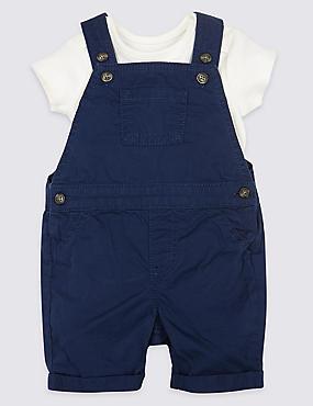 2 Piece Dungaree & Bodysuit Outfit, NAVY, catlanding