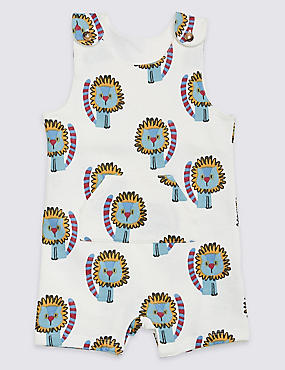 Pure Cotton All Over Lion Print Dungarees, WHITE MIX, catlanding