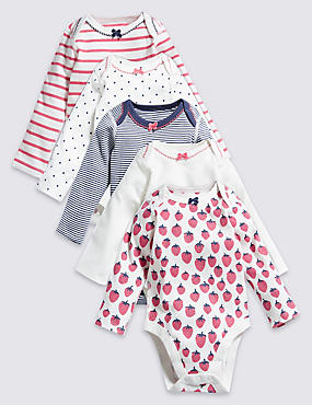 5 Pack Nautical Themed Girls' Long Sleeve Bodysuits