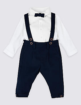 3 Piece Shirt & Trousers with Braces, NAVY MIX, catlanding