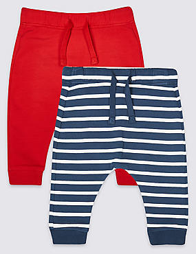 2 Pack Cotton Joggers with Stretch , NAVY MIX, catlanding