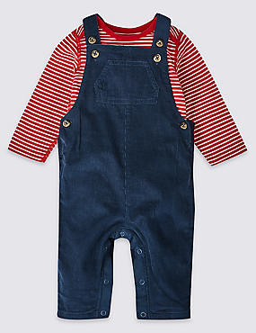 2 Piece Pure Cotton Dungarees & Bodysuit, DARK BLUE MIX, catlanding