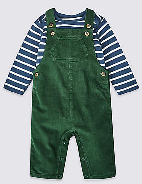 2 Piece Pure Cotton Dungarees & Bodysuit, GREEN MIX, catlanding