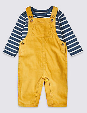 2 Piece Pure Cotton Dungarees & Bodysuit, GOLD MIX, catlanding