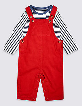 2 Piece Pure Cotton Dungarees & Bodysuit, Red mix, catlanding