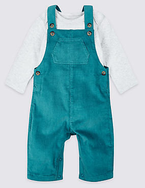 2 Piece Pure Cotton Dungarees & Bodysuit, , catlanding
