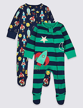 2 Pack Pure Cotton Space Sleepsuits, MULTI, catlanding