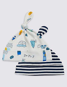 2 Pack Pure Cotton Print Hats, BLUE MIX, catlanding