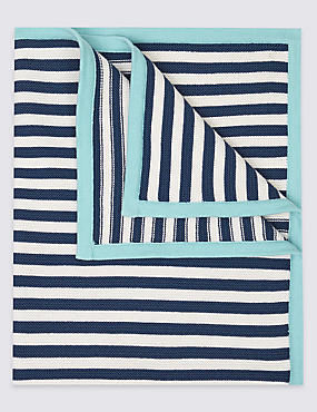 Pure Cotton Striped Shawl, NAVY, catlanding