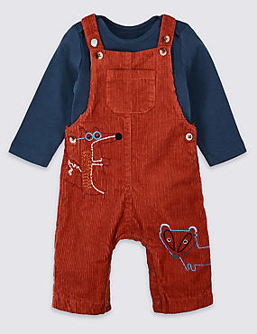 2 Piece Dungarees & Bodysuit Outfit, RED, catlanding