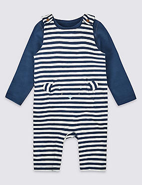 2 Piece Pure Cotton Bodysuit & Dungarees, NAVY MIX, catlanding