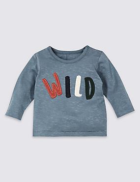 Pure Cotton Wild Graphic T-Shirt, DUSTY BLUE, catlanding