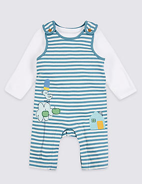 2 Piece Pure Cotton Bodysuit & Dungarees, TEAL MIX, catlanding