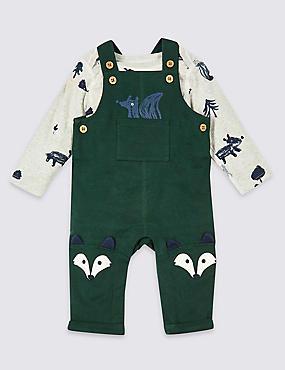 2 Piece Bodysuit & Dungarees Outfit, DARK GREEN MIX, catlanding