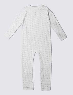 Grey Star Printed Long Sleeve Sleeping Suit Without Feet (3-8 Years)