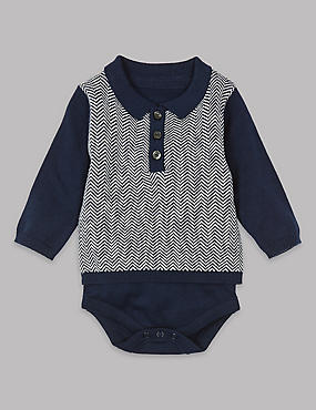 Pure Cotton Knitted Polo Bodysuit, Navy mix, catlanding