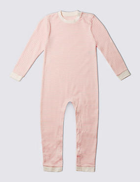 Pink Stripe Long Sleeve Sleeping Suit Without Feet (3-8 Years)