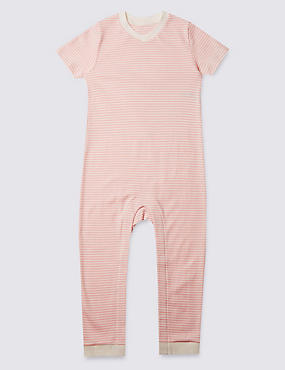 Pink Stripe Short Sleeve Sleeping Suit Without Feet (3-8 Years)