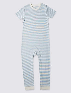 Blue Stripe Short Sleeve Sleeping Suit Without Feet (3-8 Years)