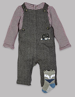 3 Piece Bodysuit & Dungarees with Socks Outfit, GREY MIX, catlanding