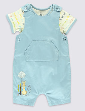 2 Piece Pure Cotton Peter Rabbit™ Bibshort & Bodysuit Outfit
