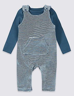 2 Piece Dungarees & Bodysuit Outfit, BLUE MIX, catlanding