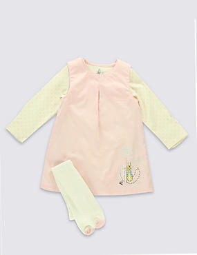 3 Piece Cotton Rich Peter Rabbit™ Pinafore, Bodysuit & Tights Outfit