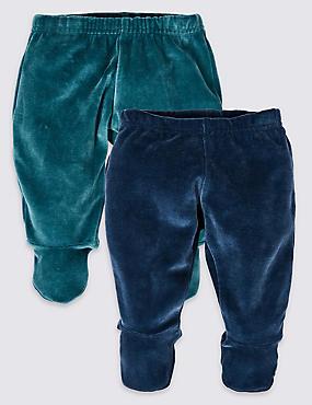 2 Pack Cotton Rich Crawler Trousers, BLUE MIX, catlanding