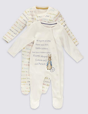 2 Pack Pure Cotton Peter Rabbit™ Sleepsuits
