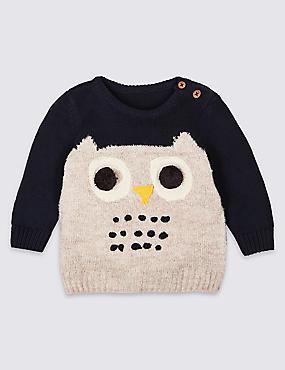 Cotton Rich Novelty Knit Owl Jumper, BLUE MIX, catlanding
