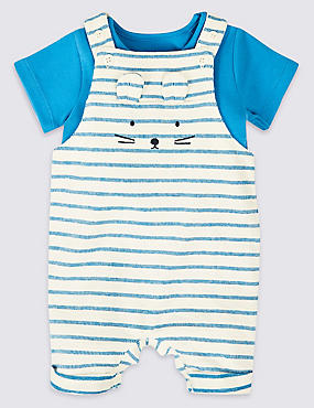 2 Piece Dungarees & Bodysuit , BLUE MIX, catlanding