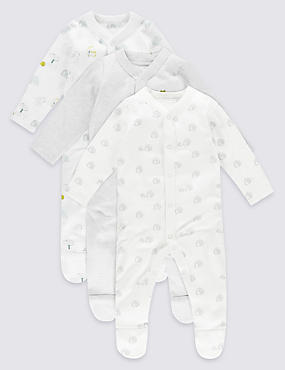 3 Pack Pure Cotton Unisex Assorted Sleepsuits