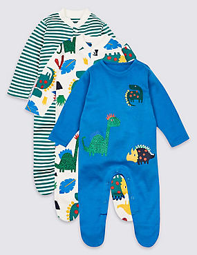 3 Pack Pure Cotton Dinosaurs Sleepsuits, MULTI, catlanding