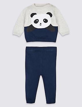 2 Piece Panda Top & Bottom Outfit, BLUE MIX, catlanding