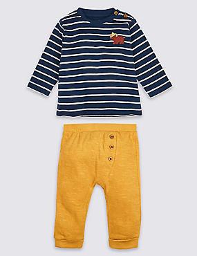 2 Piece Pure Cotton Top & Joggers Outfit, DARK BLUE MIX, catlanding