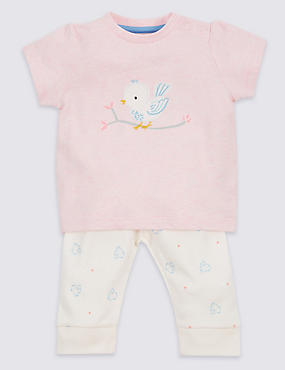 2 Piece Pure Cotton Bird Appliqué T-Shirt & Leggings Outfit