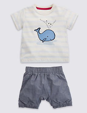 2 Piece Pure Cotton Whale Print T-Shirt & Chambray Shorts Outfit