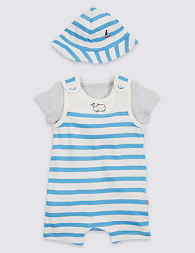 3 Piece Pure Cotton Bibshort & Bodysuit Outfit with Hat