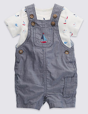 2 Piece Pure Cotton Chambray Dungaree & Bodysuit Outfit
