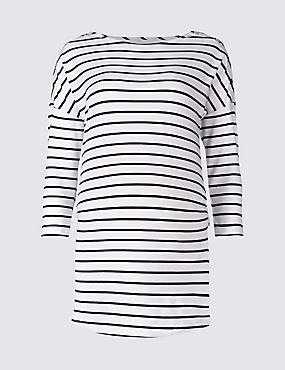 Maternity Striped Feeding Top with Modal, NAVY/WHITE, catlanding