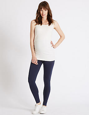 Maternity Cotton Rich Leggings with Stretch, NAVY, catlanding