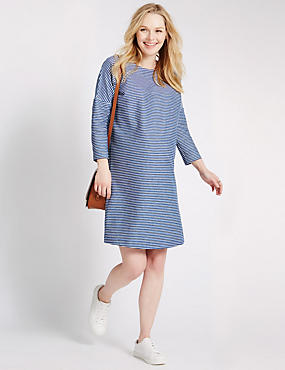 Maternity Cotton Striped Dress with Stretch, BLUE MIX, catlanding