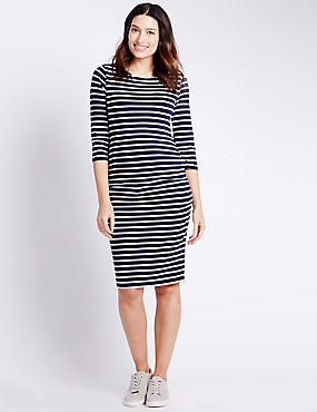 Maternity Striped Dress with Modal, BLUE MIX, catlanding