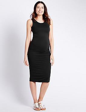 Maternity Modal Blend Sleeveless Ruched Dress