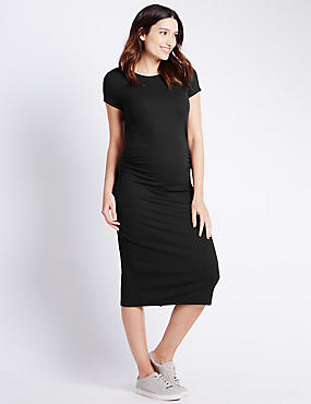 Maternity Ribbed Short Sleeve Dress