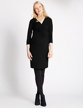 Maternity V-Neck Knot Front Jersey Dress